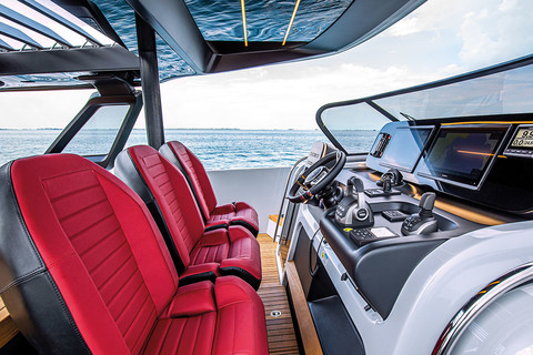 A46 Luxury Tender - Pilot console with triplet of seats